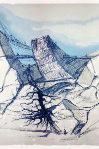 L'Arca incagliata nella roccia, serigrafia su carta, cm 110x150 – 1987 Archivio Giovanni Michelucci