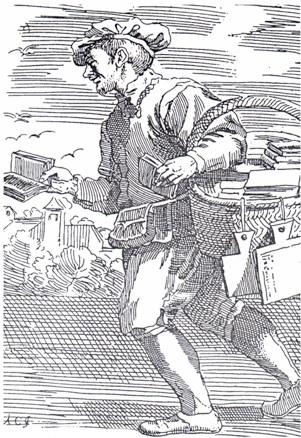 Illustrazione di un libraio di Montereggio