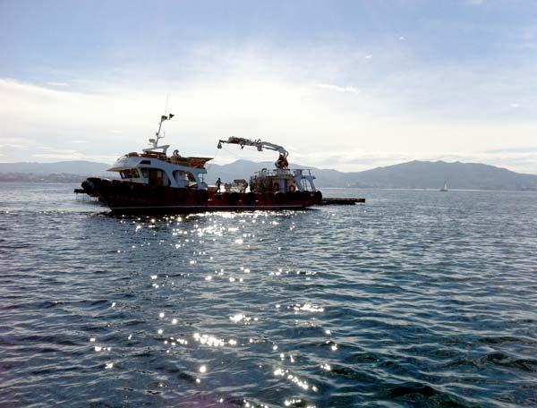 Un peschereccio al largo ci ricorda che la pesca qui è una risorsa economica importante