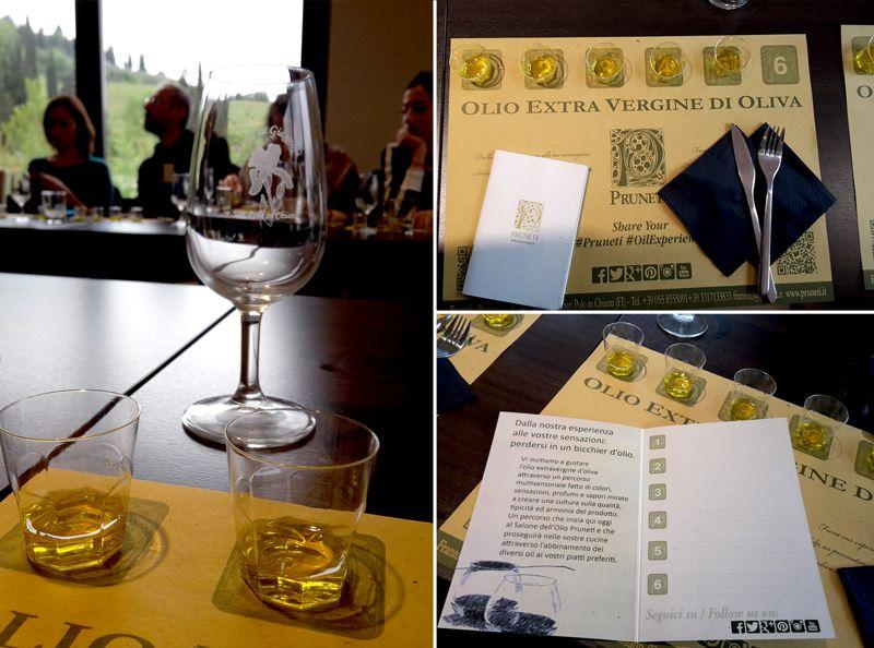 Degustazione di olio extravergine di oliva al bicchiere, azienda Pruneti