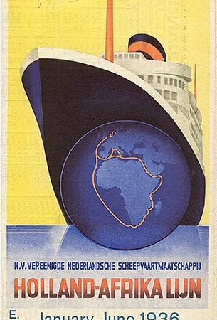 Orario della Holland-Afrika Lijn, 1936. (Collezione David Levine)