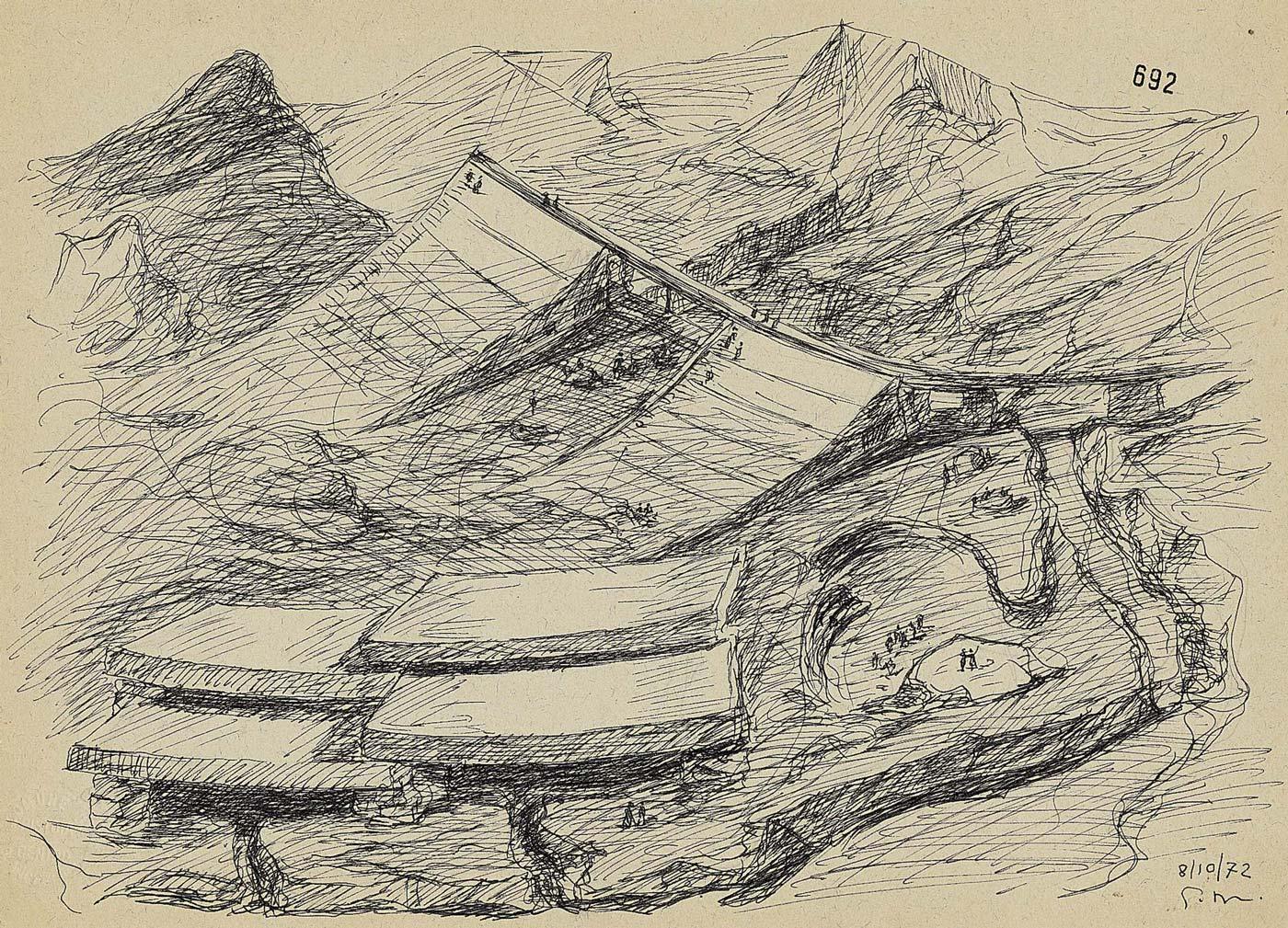 Progetto di un memoriale a Michelangelo sulle Alpi Apuane, Carrara - Penna e china su carta, cm 25x35 – 1972 Archivio Giovanni Michelucci
