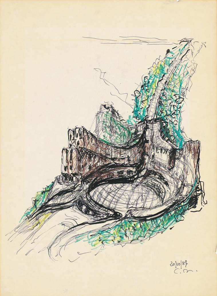 Progetto per il Palazzo di Giustizia di Firenze, Firenze – Penna e pennarello su lucido, cm 45x33 – 1987 Archivio Giovanni Michelucci